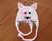 Valentine Hat -Valentine Kitty Hat- Animal Hat-Kitty Hat- Crochet Kitty Hat-Cat Hat-Baby Hat-Toddlers Hat- Child Hats-Crochet Hats for Kids-
