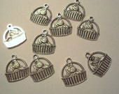 10 Tibetan Silver Cat in Basket Charms Beautifully Detailed