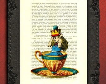 alice in wonderland decorations, crown alice tea cup art print, alice dictionary art teacup print, tea party wall art