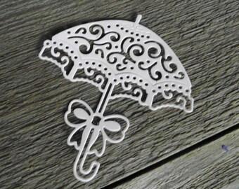Set of 6 Delicate White Parasol Die Cut Wedding invitation Baby Shower Card Embellishment