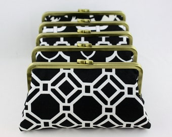Black and White Wedding Clutches / Wedding Gift for your Bridesmaid / Bridal Clutch - Set of 6