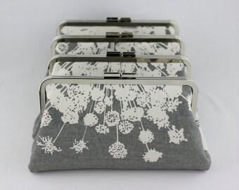 Gray Blossom Bridesmaid Clutches / Wedding Purses / Floral Bridesmaid Purse Clutch - Set of 4