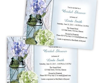 Country Bridal Shower Invitation - Hydrangea in a Mason Jar - DIY Printable Template - Instant Download - Microsoft Word Format