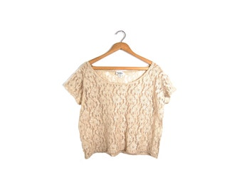 Small Floral Lace Boxy Blouse // Cream Lace Floral Top // A12