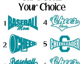 Cheer Car Decal Etsy - Window decals for sports