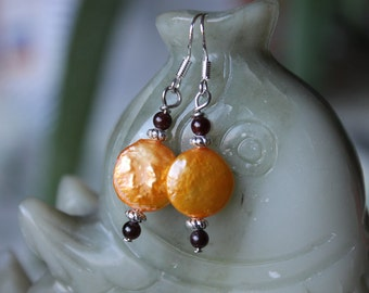 Gold Coin Pearl With Red Garnet Earrings, sterling silver hook