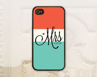 Personalized Bride phone case iPhone 4 4S 5 5s 5C 6 6+ Plus, Samsung Galaxy s3 s4 s5 s6 Mrs Color block Create your own B4091