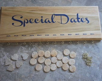 Special Dates Calendar Plaque Sign Plaque with 35 Tags for date, name, birthday, party,wedding,events, great gift - solid wood, made in USA