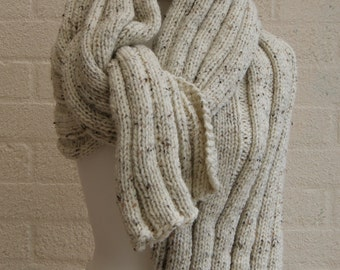 Extra Long Scarf in Oatmeal/ Chunky Knit scarf/  Knitted Wrap,