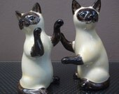 Siamese Cats Salt and Pepper Pots Hand Painted Siamese Cats Salt and Pepper Shakers