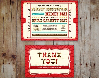 Printable Baby Shower Invitation & Thank You Card - Circus / Carnival Theme