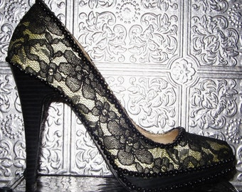 black lace platform heel with black pearls and glittered soles