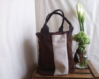 Casual large tote bag in two fabric brown coffe hemp and texture creme