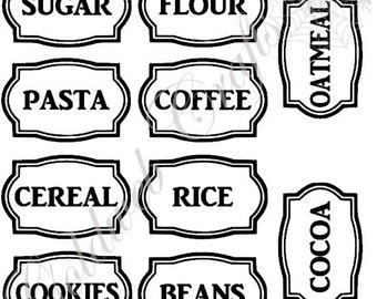 Kitchen Labels Vinyl Stickers - Set of 10
