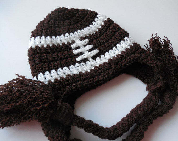 Football Baby Hat - Baby to Adult Sizing - Brown and White -Handmade Crochet - Made to Order