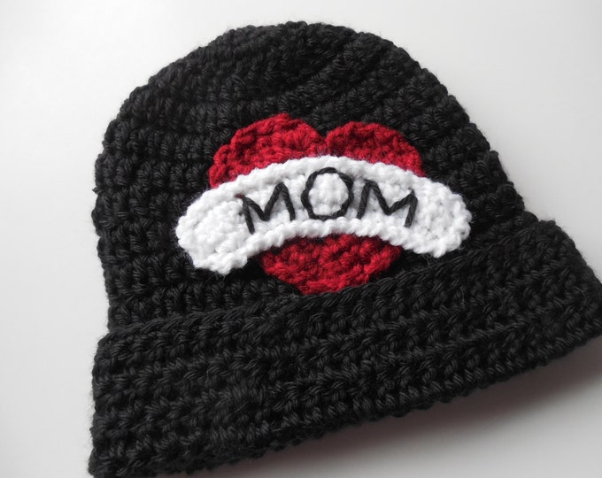 Biker Baby Beanie - I love Mom - Baby Hat - Handmade Crochet - Made to Order