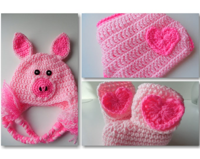 Pig Crochet Set -  Baby Hat - Diaper Cover - Booties - Set - Pink and Hot Pink - Handmade Crochet - Made to Order