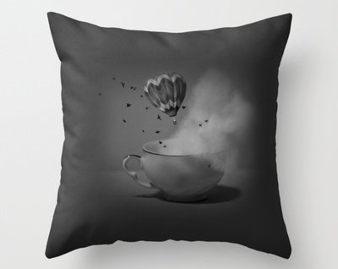 Throw Pillow Cover Only - Fantasy Photo - Tea Cup - Hot Air Balloon - Art Photography - Sofa Pillow - Couch Pillow - Made to Order