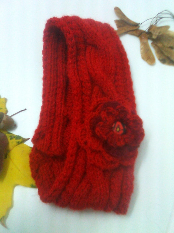 Hand Knitted Headbands Patterns : Items similar to Hand knitted headband with crocheted flower / Handmade knitt...