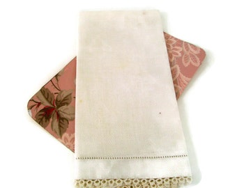 Vintage Linen- Ivory Table Scarf or Tea Towel- Handmade Cotton Tatting- Pulled Thread Edging-24 x 15-Bureau Scarf-Cottage Chic Home Decor