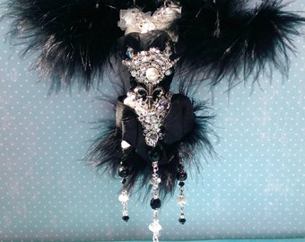 OOAK Ornament Angel Decor Black White Leather Mink Hanging Gift