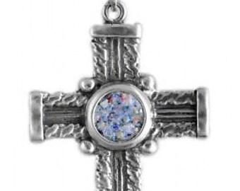 Filigree Ancient Roman Glass Pendant, 925 Sterling Silver Pendant, Cross Pendant, Roman Glass Cross, OOAK