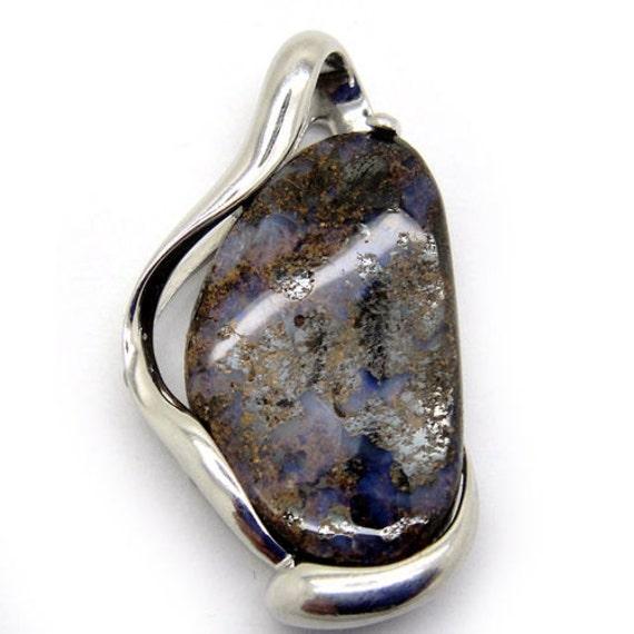 silver pendant australian opal pendant 925 sterling silver