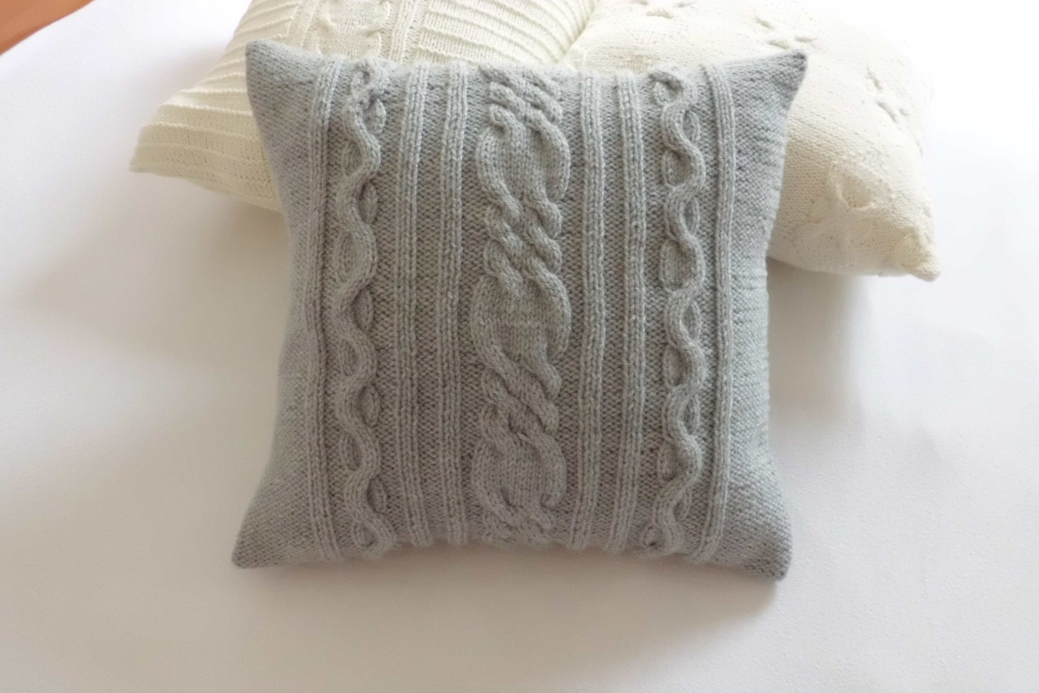 Custom Gray Hand Knit Pillow Cover Throw Pillow Cable Knit