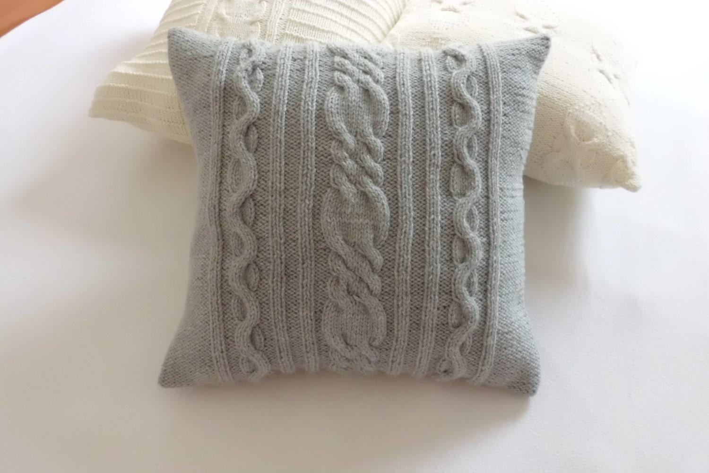 Grey Knit Throw Pillow : Custom Gray Hand Knit Pillow Cover Throw Pillow Cable Knit