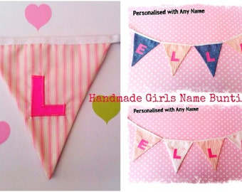 Fabric Name Bunting - Personalised Handmade Children's Girls letters Garland Flags - Cotton