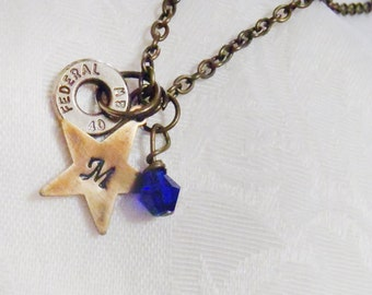 Bullet casing necklace - Ammo charm with sapphire crystal and handstamped star - 9mm, 45 cal, 40 cal, 223, 30-06, 30-30, 38, or any other