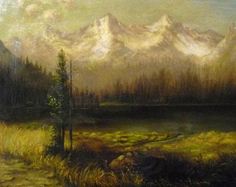 American Romanticist William Bradford Original Sierra Nevada Lake and Mountains Luminous California Landscape Antique Oil Painting