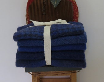 Violet Hand Dyed Wool Bundle For Applique and Rug Hooking