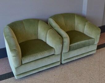Gorgeous Velvet Celery Swivel Tub Chairs