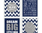 Baseball Nursery Wall Art Print Set - Gray Navy Blue Chevron - Boy Rules Personalize Initials Baby Boy Room - Dream Big Little Man -