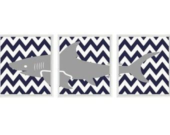 Shark Art Print Set - Nursery Baby Boy Room Navy Blue Gray White Chevron -  Beach House Wall Art Home Decor Set