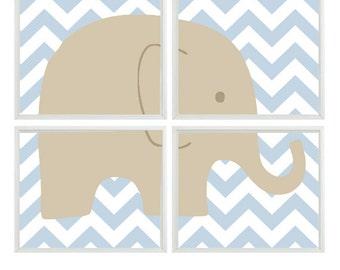 Elephant Nursery Wall Art Print Set -Tan Light Blue Chevron Decor - Children Kid Baby Boy Nursery - Wall Art Home Decor