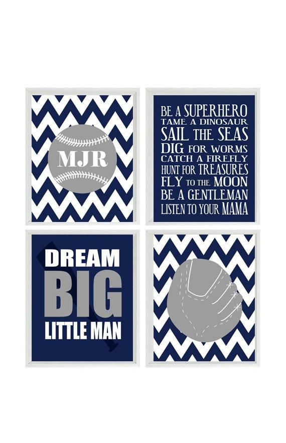 Navy Blue Wall Decor Nursery : Baseball nursery wall art print set gray navy blue chevron