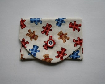 Business Card Holder  Fabric Wallet Teddy Bear Print Fabric Credit Card Holder  Coin Purse  Small Cloth Coin Purse