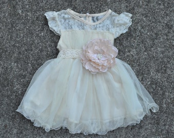 Ivory Lace Girl's Dress with hand crafted lace flower sash/Cottage Chic/Shabby Chic/Wedding/Flower Girl/Photo Prop