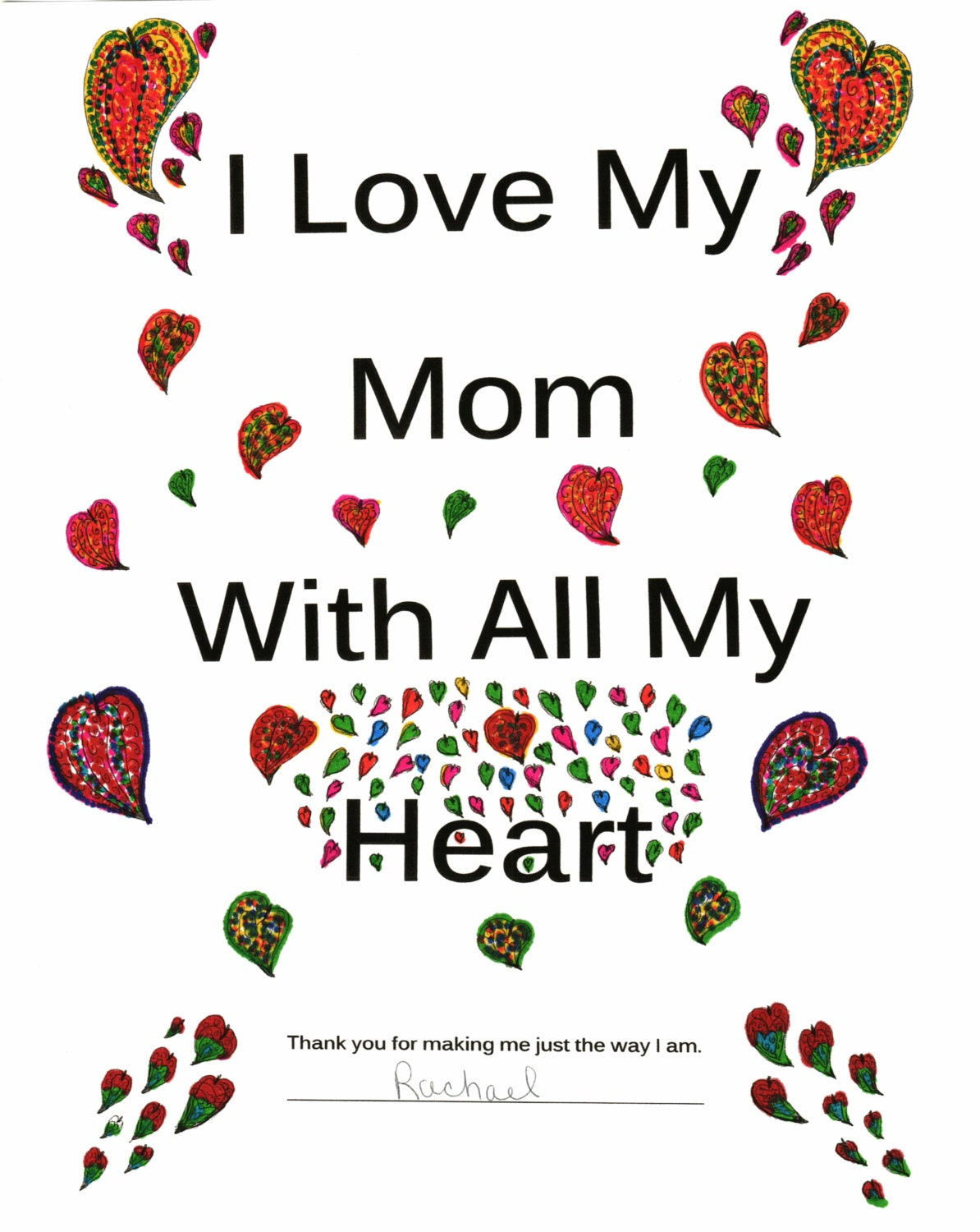 i love my mom with all my heart b u0026w child u0027s coloring