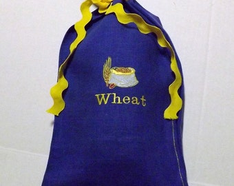 170 Embroidered 100% Linen Long Loaf Bread Bag
