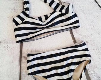 Black and white stripe Girls retro swimsuit bikini two piece made to order sizes 2-12