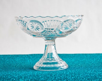 Green Glass Pedestal Compote Candy Dish With By Ollyoxes