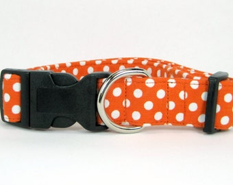 Wrapped around dog collar -orange polka dot or any fabric in my shop(Mini,X-Small,Small,Medium ,Large or X-Large Size)- Adjustable