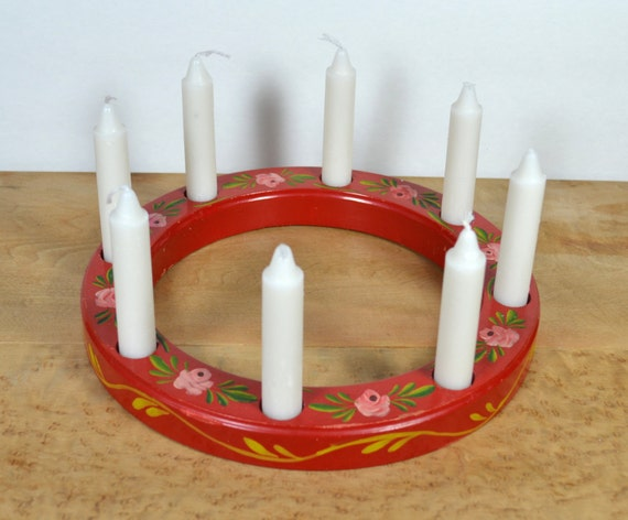 Red Swedish Candle Ring 9 Inch Wooden Birthday By Vintagedoe