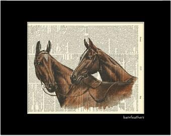 Vintage Dictionary Art Print - Horses - Dictionary Page - Book Art Print No. P216
