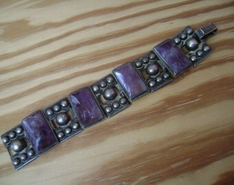 old mexican silver amethyst bracelet