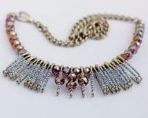 safety pin necklace, choker, bib with iridescent swarovski beads and miyuki beads and chain
