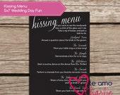 The Kissing Menu Wedding Game - Wedding Game Printable